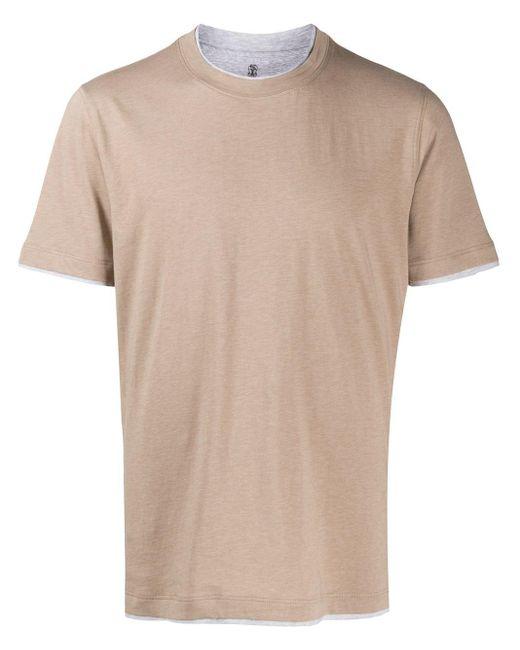 メンズ Brunello Cucinelli レイヤード Tシャツ Brown