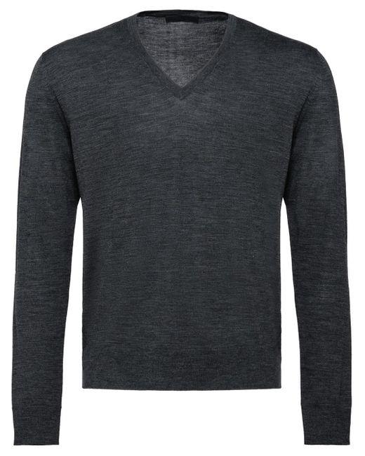 メンズ Prada Vネック セーター Gray