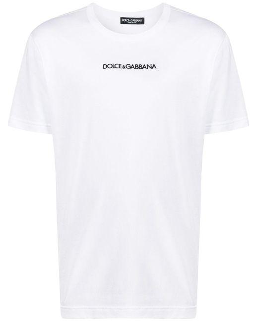 メンズ Dolce & Gabbana ロゴエンブロイダリー Tシャツ White