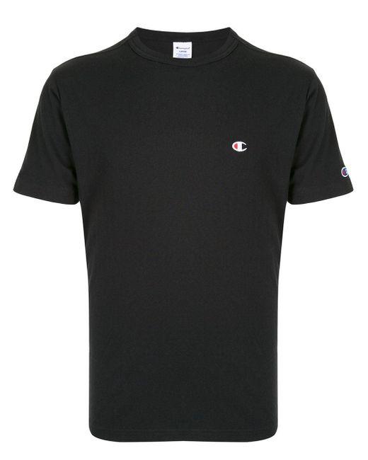メンズ Champion ロゴ Tシャツ Black