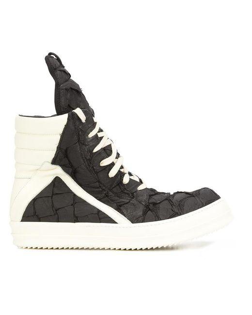 Rick Owens   Black Geobasket Pirarucu High-Top Sneakers for Men   Lyst