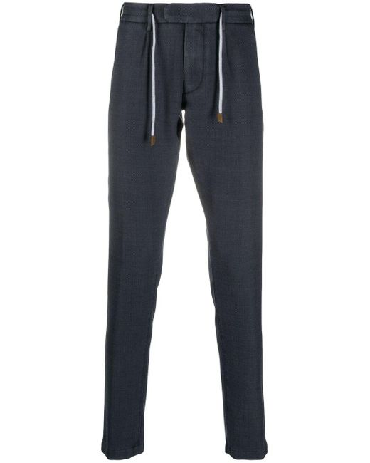 Eleventy Blue Piqué Slim-fit Trousers for men