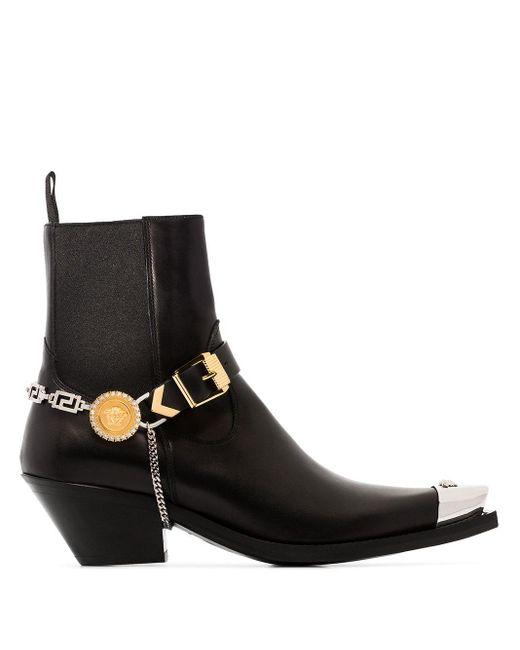 Versace メデューサ アンクルブーツ Black