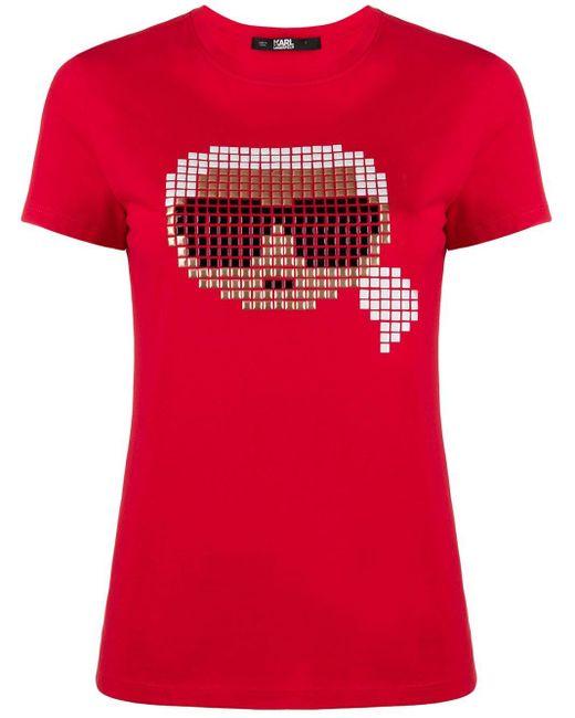 Karl Lagerfeld Karl Pixel Tシャツ Red