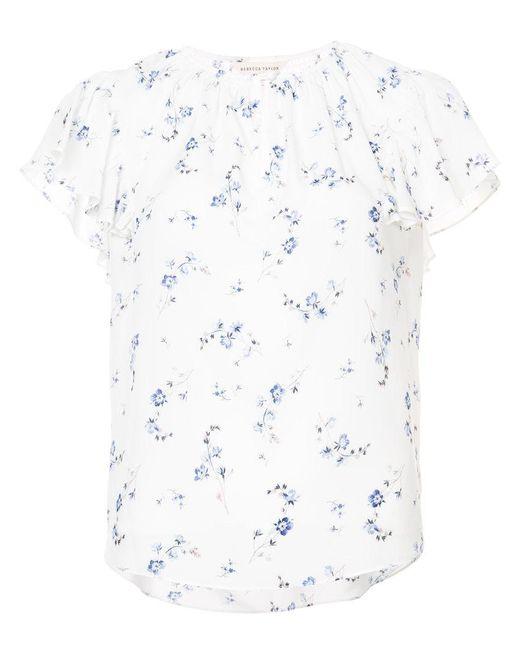 Rebecca Taylor - White Floral Print Blouse - Lyst