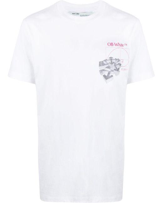 メンズ Off-White c/o Virgil Abloh Golden Ration プリント Tシャツ White