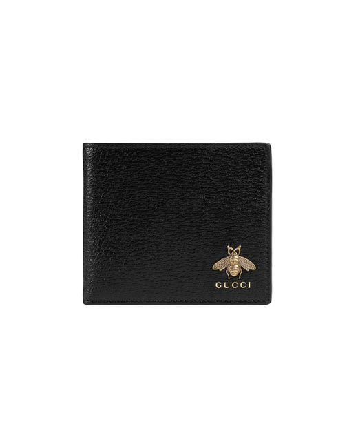 メンズ Gucci Animalier Leather Coin Wallet Black