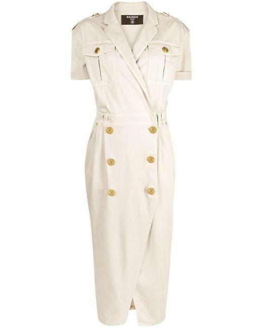Balmain ボタンディテール ドレス Natural
