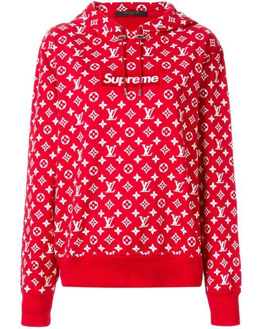 Louis Vuitton X Supreme プレオウンド パーカー Red