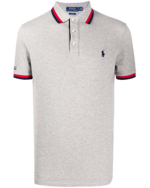 Polo Ralph Lauren Poloshirt mit Kontrastdetails in Gray für Herren