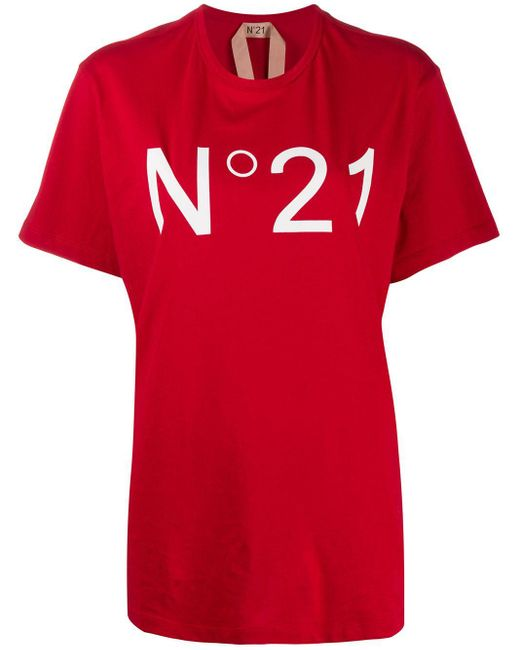 N°21 オーバーサイズ ロゴ Tシャツ Red