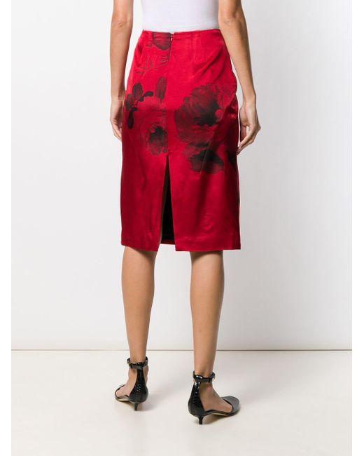 N°21 フローラル ペンシルスカート Red