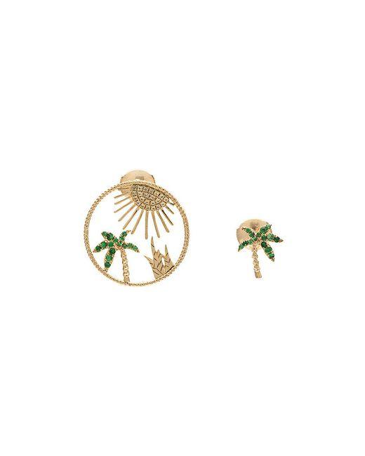 Yvonne Léon   Multicolor Sapphire Palm Tree Sun Earring Set   Lyst