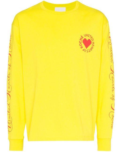 メンズ Koche United Heart ロングスリーブトップ Yellow