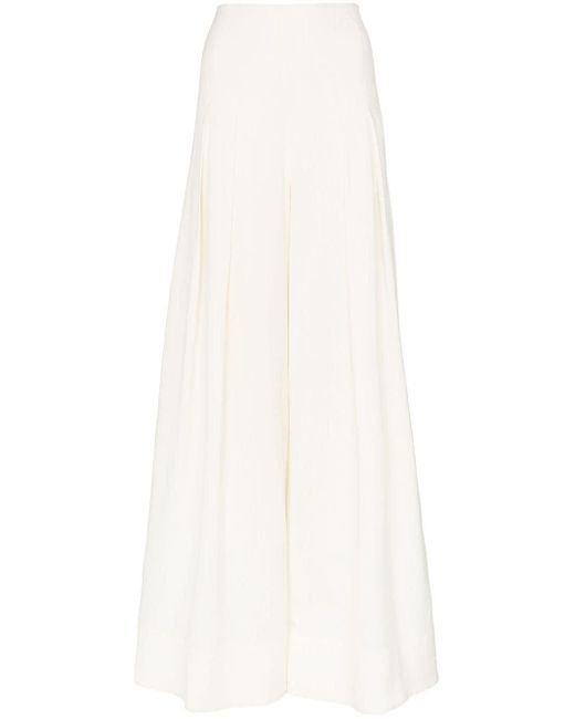 Jacquemus White High-waisted Wide Leg Pleated Trousers