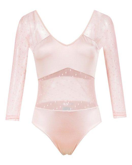 Brigitte Bardot - Pink Long Sleeved Tulle Bodysuit - Lyst