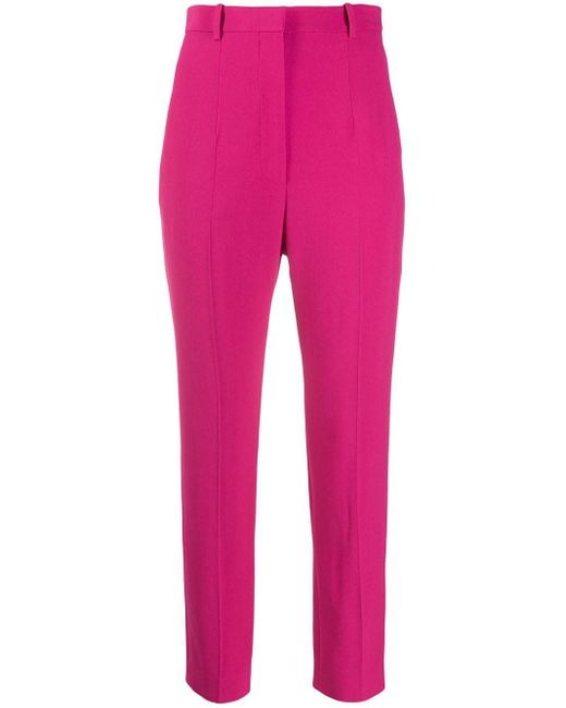 Alexander McQueen Pink Cropped Tailored Trousers