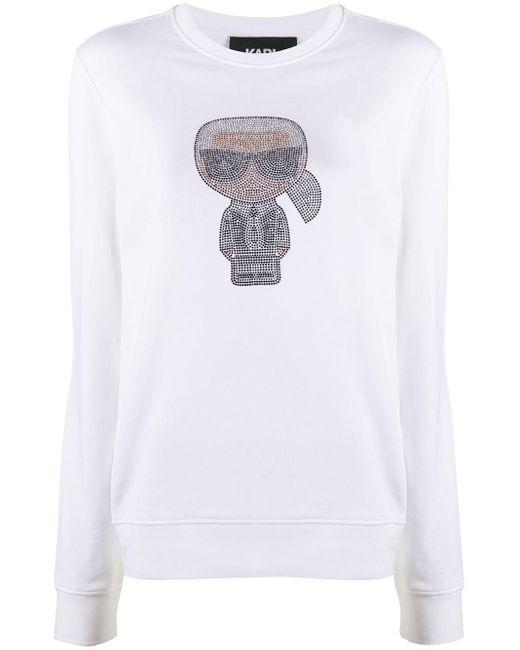 Толстовка Ikonik Karl Со Стразами Karl Lagerfeld, цвет: White