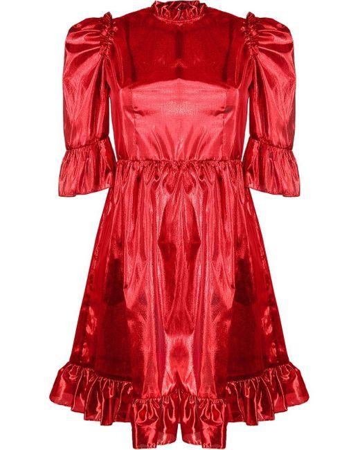 BATSHEVA メタリック ドレス Red