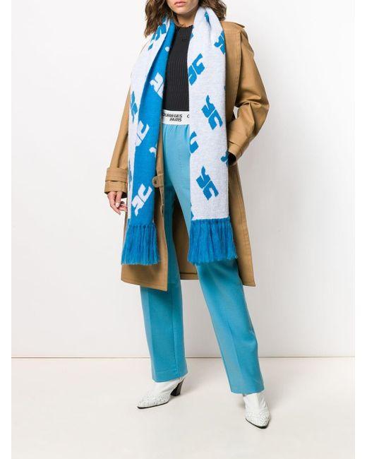 Courreges モノグラムプリント スカーフ Blue