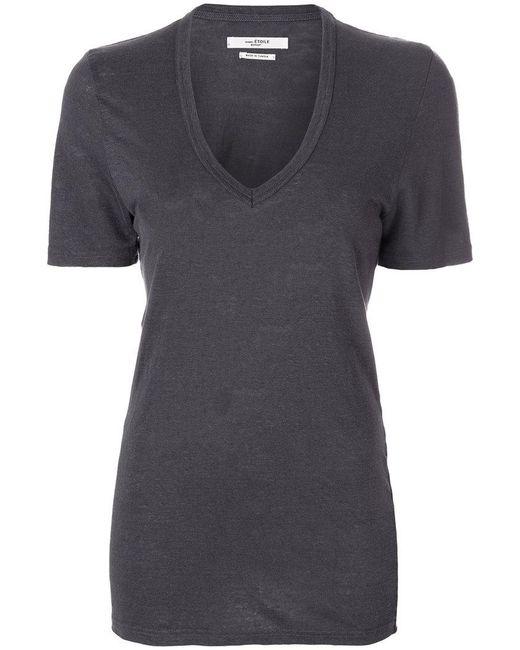 Étoile Isabel Marant - Gray V-neck Linen T-shirt - Lyst