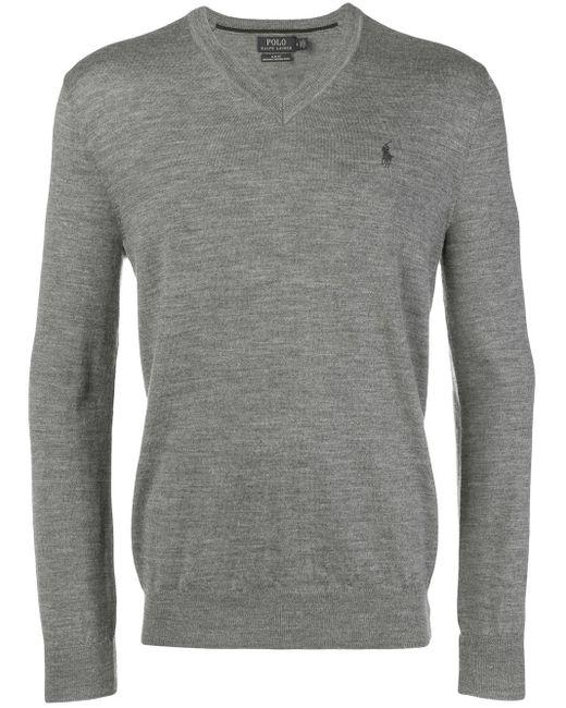 Polo Ralph Lauren Gray Classic V-neck Sweater for men