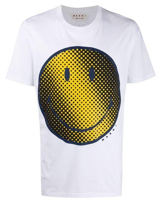 メンズ Marni プリント Tシャツ White