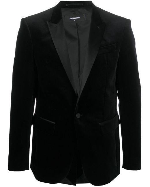 メンズ DSquared² ベルベット シングルジャケット Black