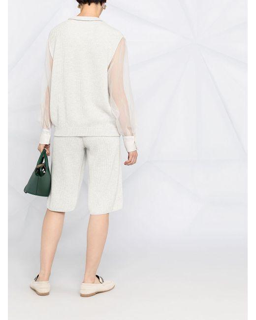 Шорты В Рубчик Brunello Cucinelli, цвет: Gray
