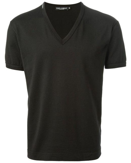 メンズ Dolce & Gabbana Vネック Tシャツ Black