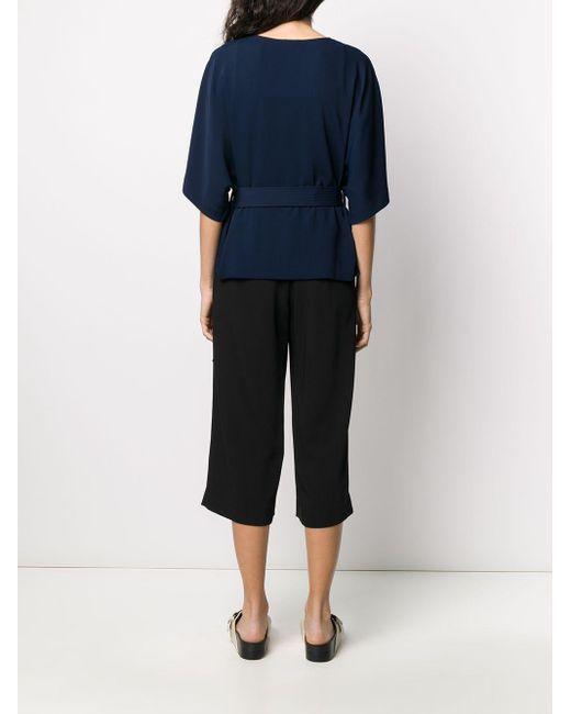 P.A.R.O.S.H. Blusa con cintura lazada de mujer de color azul lrncF