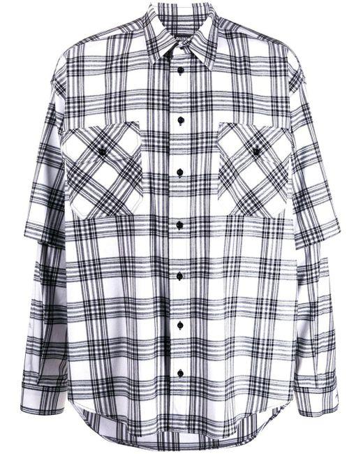 メンズ Balenciaga チェック ダブルスリーブシャツ White