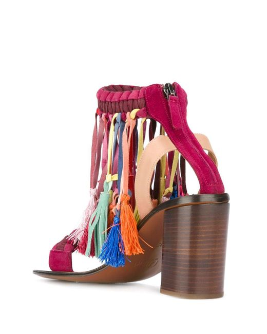 Chloé Red Rainbow Tassel Sandals
