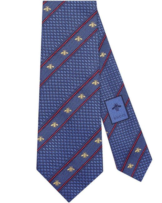 メンズ Gucci 【公式】 (グッチ)ビー(ハチ) ウェブ付き シルク タイペリウィンクル&レッド シルクブルー Blue