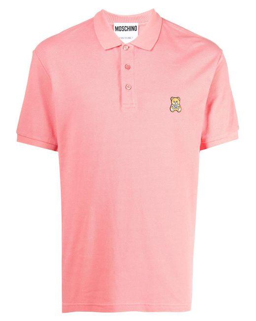 Рубашка Поло С Нашивкой-логотипом Moschino для него, цвет: Pink