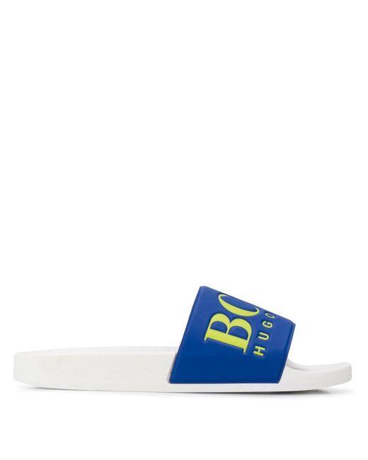 メンズ BOSS エンボスロゴ サンダル Blue