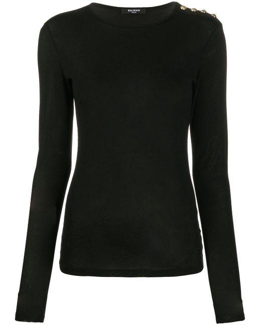 Balmain ボタンディテール Tシャツ Black