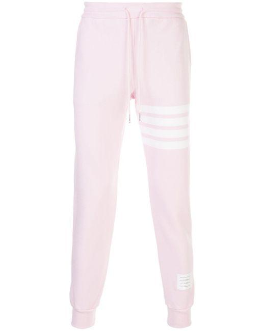 Спортивные Брюки С Полосками 4-bar Thom Browne для него, цвет: Pink