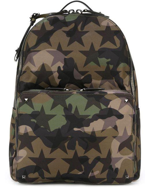Valentino - Green Garavani Rockstud Camustars Backpack for Men - Lyst