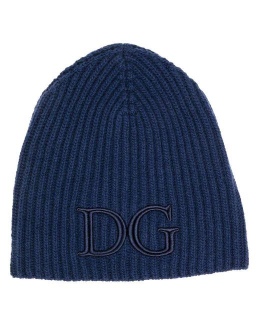 Шапка Бини В Рубчик С Вышитым Логотипом Dolce & Gabbana для него, цвет: Blue