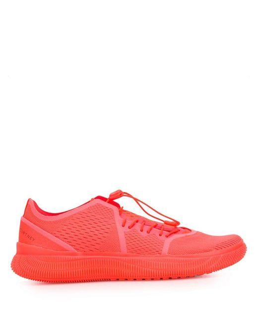 7f3d356aaec3 Adidas By Stella McCartney - Red Pureboost Sneakers - Lyst ...