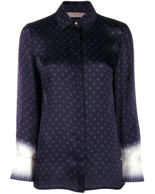 Tory Burch Blue Printed Button Down Shirt