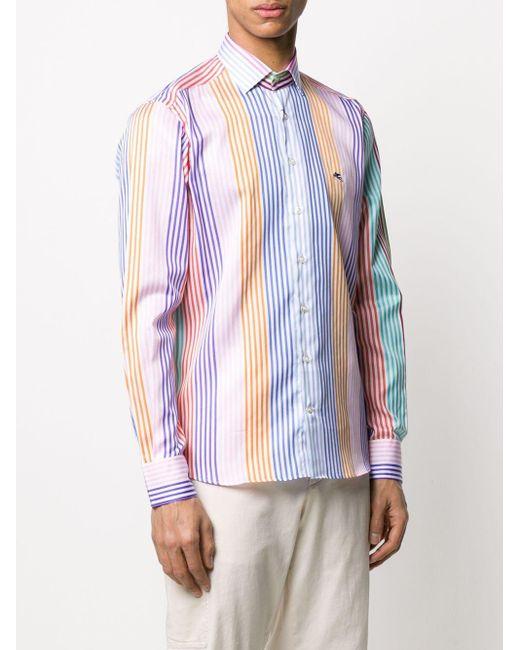 Полосатая Рубашка Etro для него, цвет: Blue