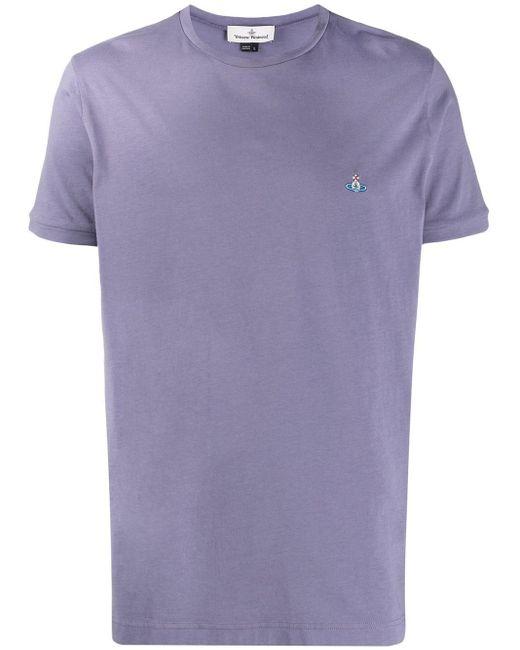 メンズ Vivienne Westwood エンブロイダリーロゴ Tシャツ Purple
