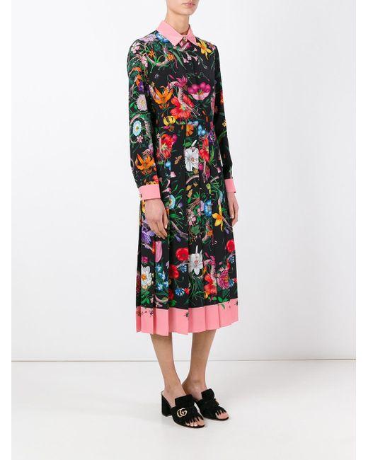 2b2e9fe24f5 ... Gucci - Multicolor Flora Snake Print Silk Dress - Lyst ...