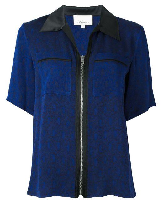 3.1 Phillip Lim Camisa con cremallera y manga corta de mujer de color azul ke4K8