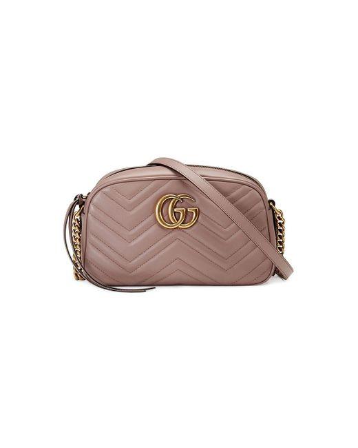 Gucci Pink Small GG Marmont Matelassé Shoulder Bag