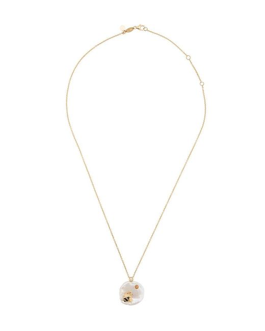 Of Rare Origin - White Bee My Honey Diamond, Sapphire & Pearl Pendant Gold Necklace - Lyst