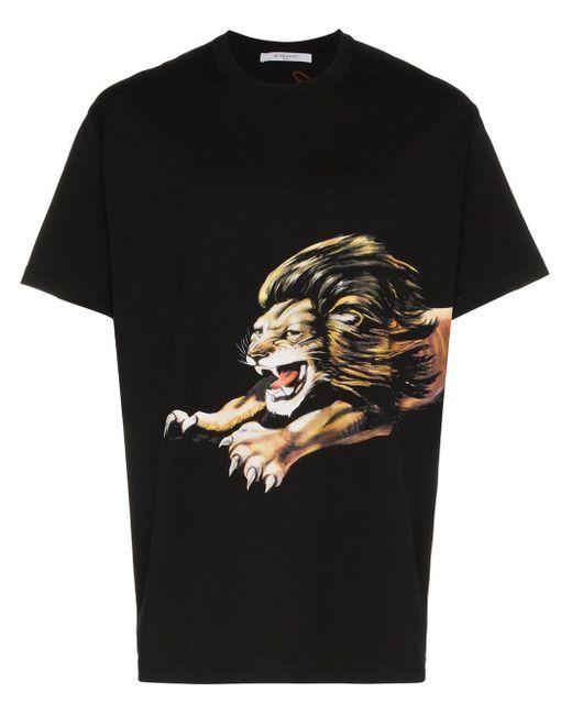 メンズ Givenchy ライオン プリント Tシャツ Black