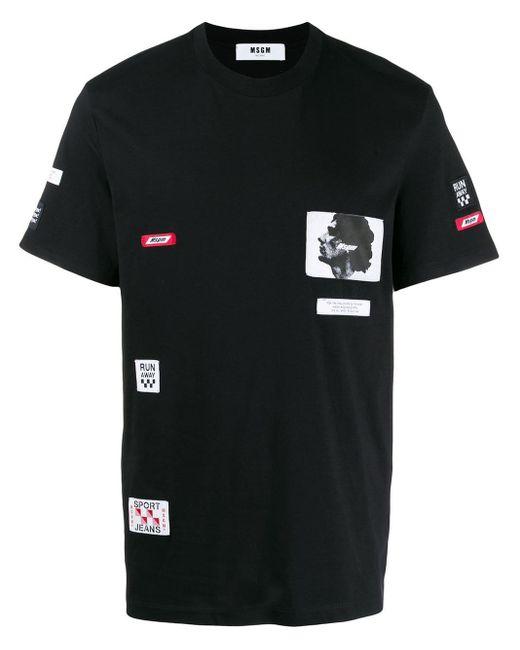 メンズ MSGM ロゴパッチ Tシャツ Black